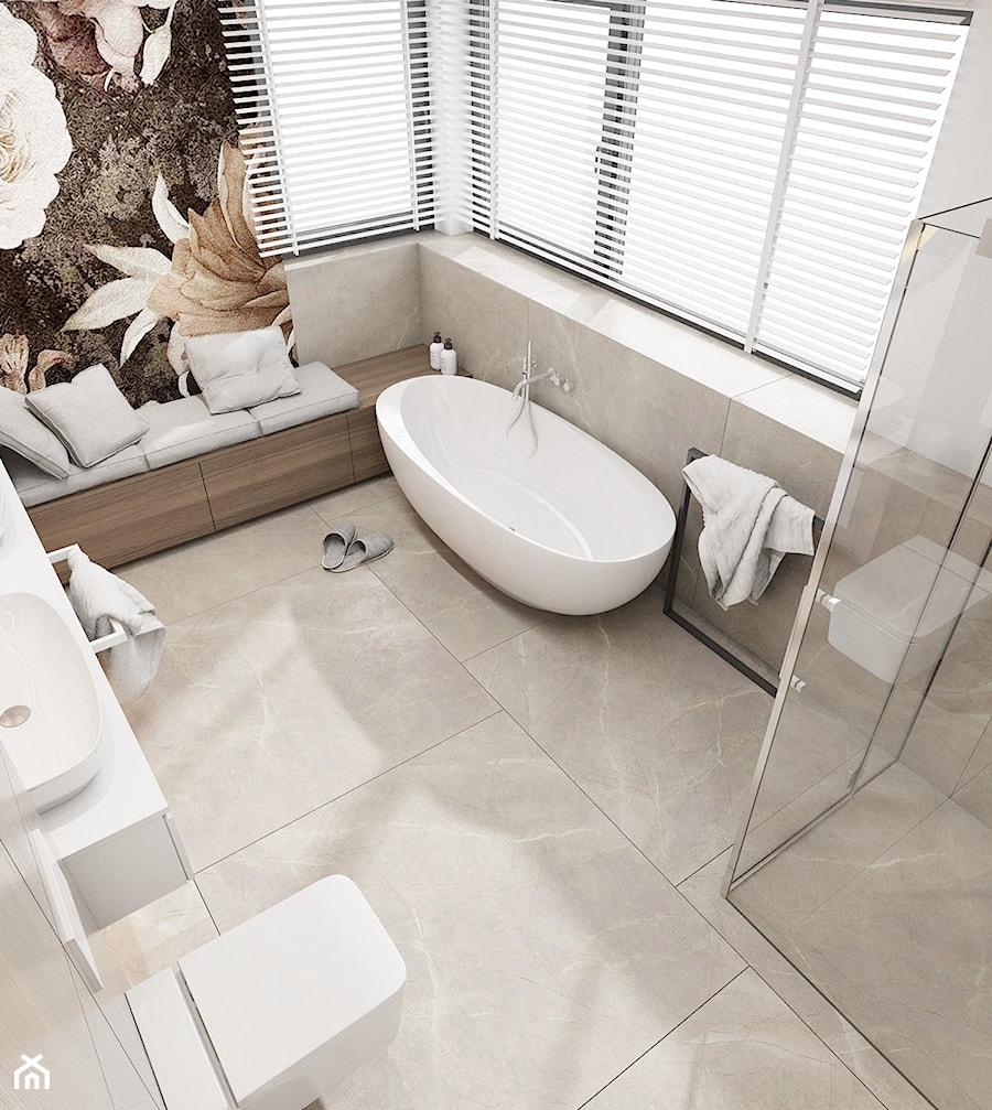 Dom jednorodzinny w Świerklańcu 2017 - Średnia szara łazienka na poddaszu w bloku w domu jednorodzinnym z oknem, styl nowoczesny - zdjęcie od A2 STUDIO pracownia architektury