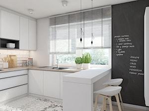 MIESZKANIE M01_2016 / TARNOWSKIE GÓRY - Średnia otwarta biała czarna kuchnia w kształcie litery l w aneksie, styl skandynawski - zdjęcie od A2 STUDIO pracownia architektury