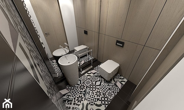 mała łazienka, mozaika na podłodze, szare ściany