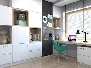 DOM JEDNORODZINNY D12/2015 TARNOWSKIE GÓRY - Średni szary czarny pokój dziecka dla chłopca dla dziewczynki dla ucznia dla nastolatka, styl nowoczesny - zdjęcie od A2 STUDIO pracownia architektury
