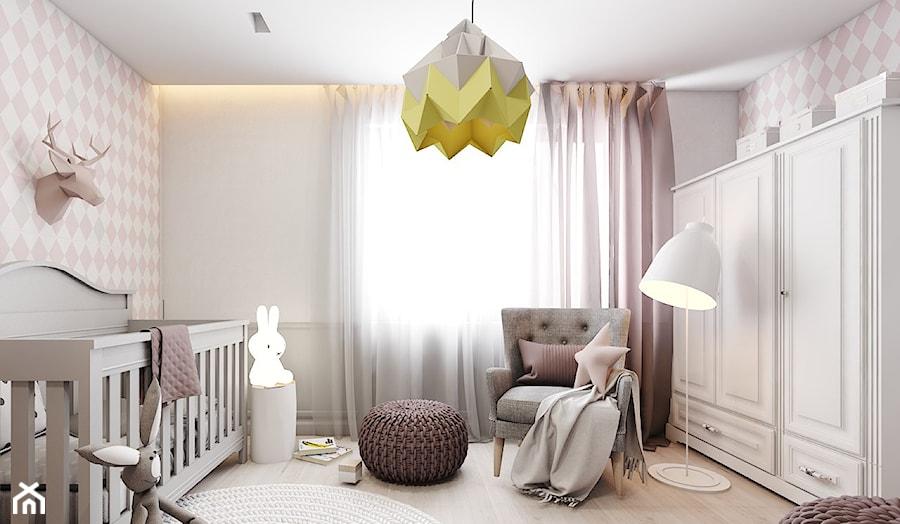 Dom jednorodzinny w Tarnowskich Górach 2017 - Średni biały szary pokój dziecka dla dziewczynki dla niemowlaka, styl skandynawski - zdjęcie od A2 STUDIO pracownia architektury