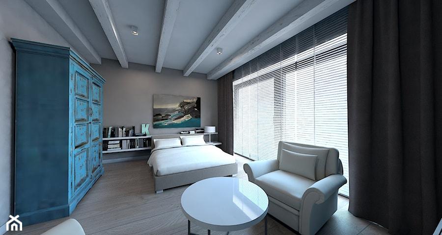 Dom jednorodzinny Zbrosławice - Duża szara sypialnia małżeńska, styl nowoczesny - zdjęcie od A2 STUDIO pracownia architektury