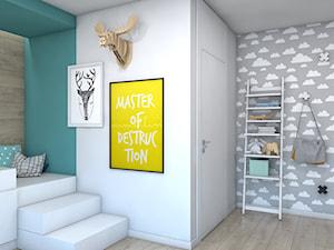 DOM JEDNORODZINNY D12/2015 TARNOWSKIE GÓRY - Średni biały szary turkusowy pokój dziecka dla chłopca dla malucha, styl nowoczesny - zdjęcie od A2 STUDIO pracownia architektury