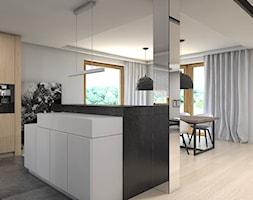 Dom w Przeszowicach - Średnia otwarta szara kuchnia w kształcie litery l z wyspą, styl nowoczesny - zdjęcie od A2 STUDIO pracownia architektury