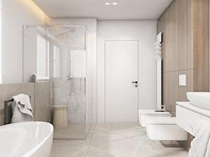 Dom jednorodzinny w Świerklańcu 2017 - Duża biała beżowa łazienka z oknem, styl nowoczesny - zdjęcie od A2 STUDIO pracownia architektury