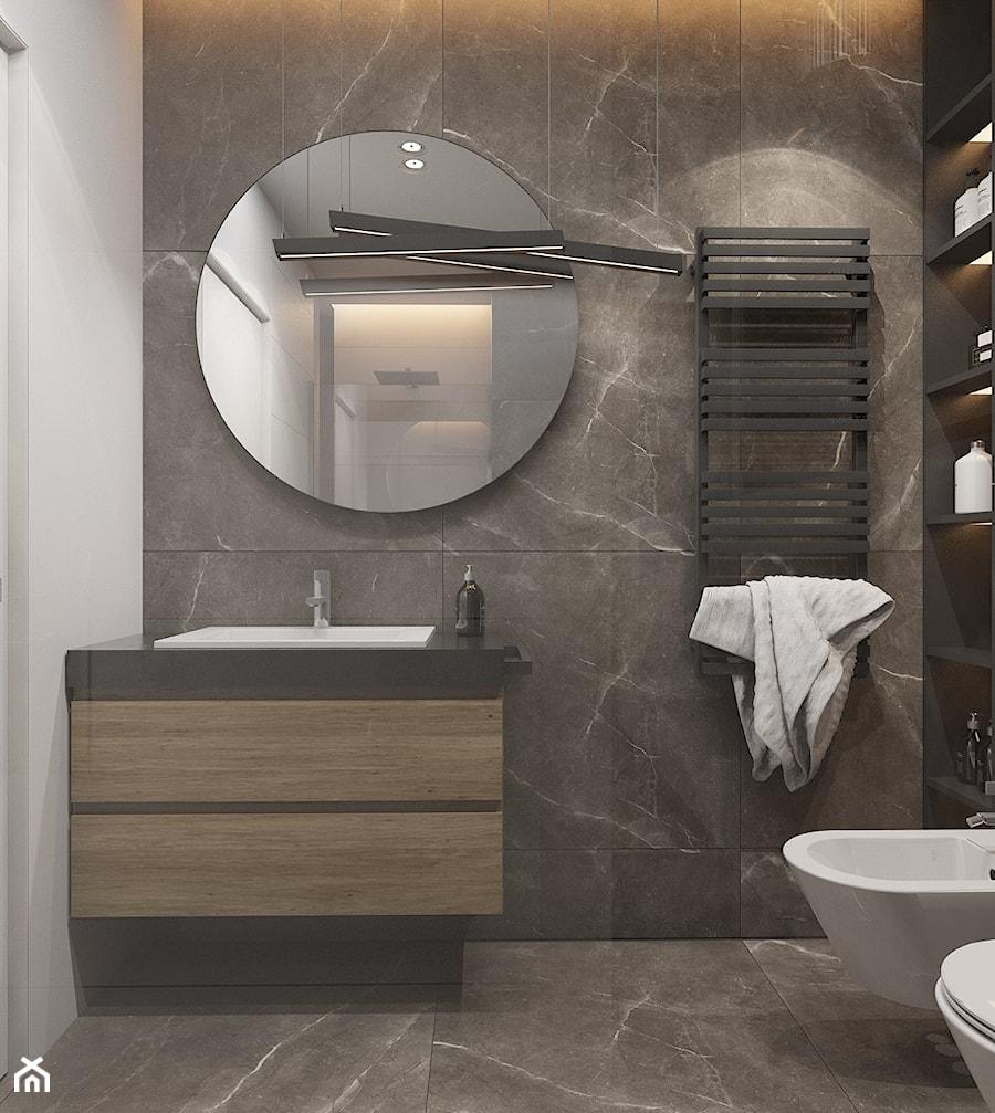 MIESZKANIE DWUPOZIOMOWE W TARNOWSKICH GÓRACH_2017 - Mała biała czarna łazienka na poddaszu w bloku w domu jednorodzinnym bez okna, styl nowoczesny - zdjęcie od A2 STUDIO pracownia architektury