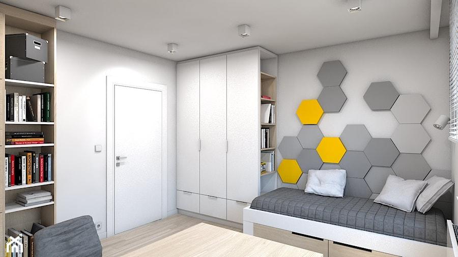 Dom w Przeszowicach - Średni szary żółty pokój dziecka dla chłopca dla ucznia dla nastolatka, styl nowoczesny - zdjęcie od A2 STUDIO pracownia architektury