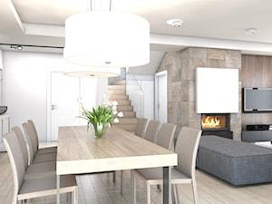 dom jednorodzinny Żyrardów - Średnia otwarta biała brązowa jadalnia w salonie, styl nowoczesny - zdjęcie od A2 STUDIO pracownia architektury