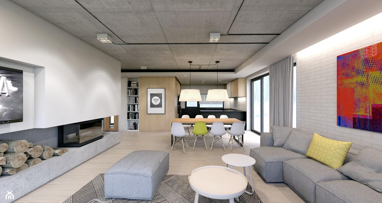 dom jednorodzinny w Ozimku - Duży szary biały salon z kuchnią z jadalnią z tarasem / balkonem, styl nowoczesny - zdjęcie od A2 STUDIO pracownia architektury - Homebook