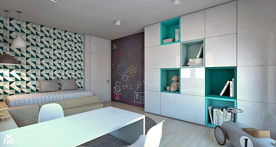 Dom jednorodzinny /Śląsk - Duży biały turkusowy pokój dziecka dla chłopca dla dziewczynki dla malucha, styl nowoczesny - zdjęcie od A2 STUDIO pracownia architektury