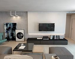 Dom jednorodzinny w Lublińcu - Średni salon z bibiloteczką, styl nowoczesny - zdjęcie od A2 STUDIO pracownia architektury