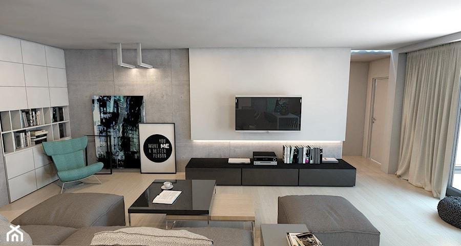 Dom jednorodzinny w Lublińcu - Średni szary biały salon z bibiloteczką, styl nowoczesny - zdjęcie od A2 STUDIO pracownia architektury