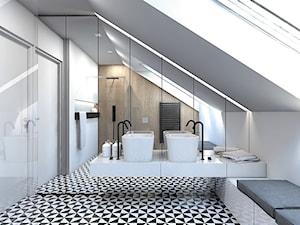DOM JEDNORODZINNY / GLIWICE - Duża biała brązowa łazienka na poddaszu w domu jednorodzinnym z oknem, styl nowoczesny - zdjęcie od A2 STUDIO pracownia architektury