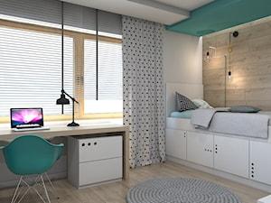 DOM JEDNORODZINNY D12/2015 TARNOWSKIE GÓRY - Średni biały turkusowy pokój dziecka dla chłopca dla dziewczynki dla ucznia dla nastolatka, styl nowoczesny - zdjęcie od A2 STUDIO pracownia architektury