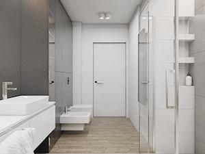 MIESZKANIE DWUPOZIOMOWE W TARNOWSKICH GÓRACH_2017 - Średnia biała czarna łazienka na poddaszu w bloku w domu jednorodzinnym bez okna, styl nowoczesny - zdjęcie od A2 STUDIO pracownia architektury