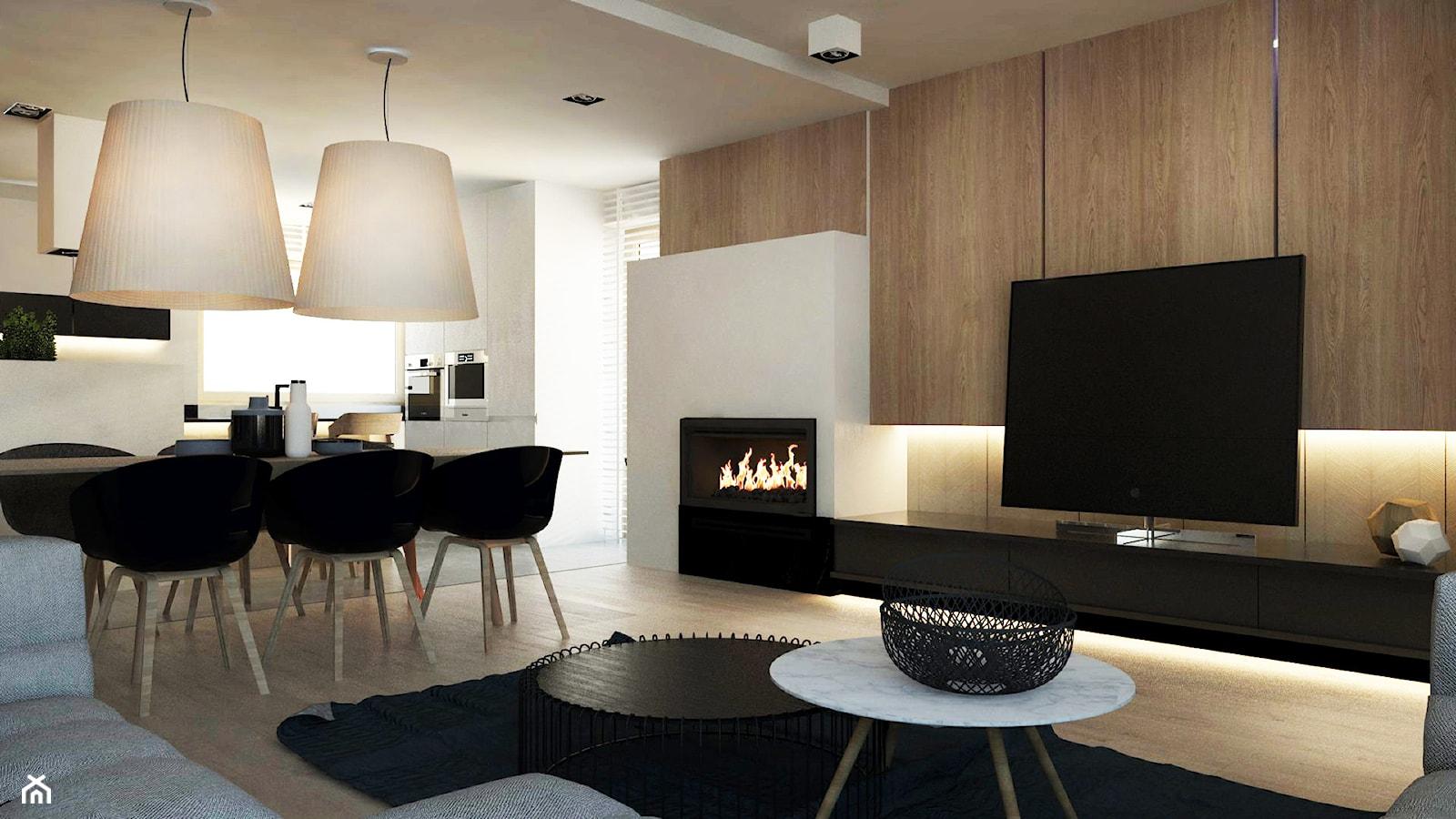 DOM JEDNORODZINNY / SZCZECIN - Duży biały salon z kuchnią z jadalnią, styl nowoczesny - zdjęcie od A2 STUDIO pracownia architektury - Homebook