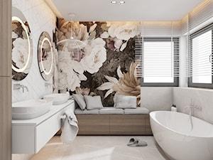 Dom jednorodzinny w Świerklańcu 2017 - Średnia biała kolorowa łazienka jako salon kąpielowy z oknem, styl nowoczesny - zdjęcie od A2 STUDIO pracownia architektury