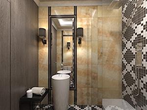 Dom jednorodzinny /Śląsk - Średnia biała beżowa czarna łazienka w bloku bez okna, styl klasyczny - zdjęcie od A2 STUDIO pracownia architektury