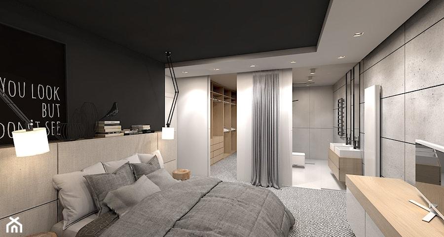 dom jednorodzinny w Ozimku - Średnia sypialnia małżeńska z garderobą z łazienką, styl nowoczesny ...