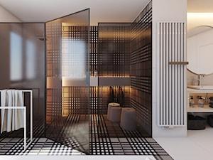 PROJEKT D19_15 / WARSZAWA _ ŁAZIENKA - Duża biała kolorowa łazienka w domu jednorodzinnym jako salon kąpielowy z oknem, styl minimalistyczny - zdjęcie od A2 STUDIO pracownia architektury