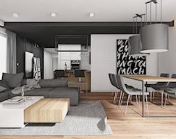 MIESZKANIE DWUPOZIOMOWE W TARNOWSKICH GÓRACH_2017 - Duży szary biały czarny salon z kuchnią z jadalnią, styl nowoczesny - zdjęcie od A2 STUDIO pracownia architektury
