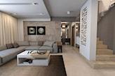 nowoczesny salon, biały stolik, ściana z beżowego kamienia ozdobnego, brązowy dywan