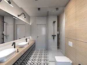 dom jednorodzinny w Ozimku - Średnia szara łazienka, styl nowoczesny - zdjęcie od A2 STUDIO pracownia architektury