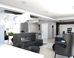 DOM JEDNORODZINNY / GLIWICE - Średni biały salon z jadalnią - zdjęcie od A2 STUDIO pracownia architektury