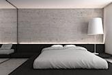 szare płytki betonowe w sypialni, biała lampa podłogowa, szara narzuta