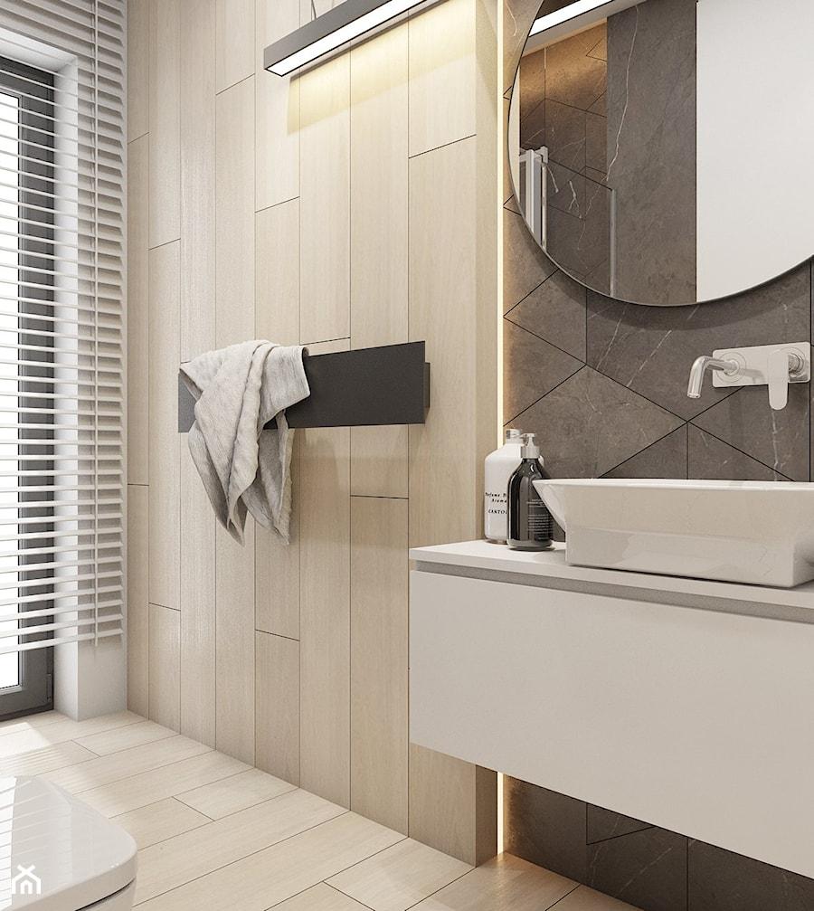 Dom jednorodzinny w Świerklańcu 2017 - Mała szara łazienka na poddaszu w bloku w domu jednorodzinnym z oknem, styl nowoczesny - zdjęcie od A2 STUDIO pracownia architektury