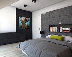 Sypialnia 1 / dom jednorodzinny. - Średnia biała sypialnia małżeńska na poddaszu, styl nowoczesny - zdjęcie od A2 STUDIO pracownia architektury