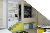 farba tablicowa w pokoju dziecka, łóżko na antresoli, pokój dziecka na poddaszu