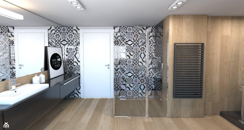 Łazienka - Duża biała czarna brązowa łazienka bez okna, styl nowoczesny - zdjęcie od A2 STUDIO pracownia architektury - Homebook