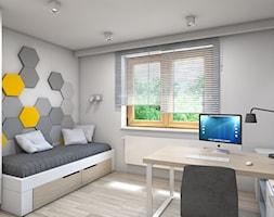 Dom w Przeszowicach - Średni biały czarny pokój dziecka dla chłopca dla ucznia dla nastolatka, styl nowoczesny - zdjęcie od A2 STUDIO pracownia architektury