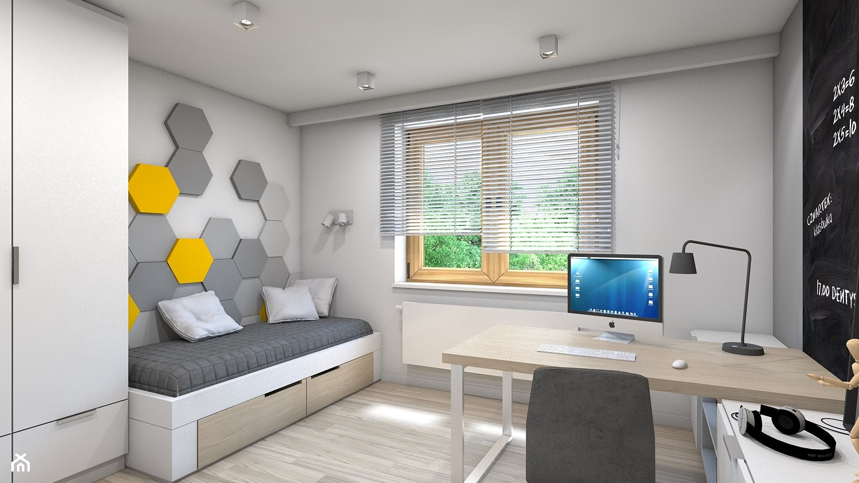 Dom w Przeszowicach - Średni biały czarny pokój dziecka dla chłopca dla ucznia dla nastolatka, styl ... - zdjęcie od A2 STUDIO pracownia architektury - Homebook