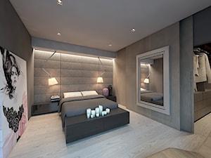 Dom jednorodzinny Zbrosławice - Średnia szara sypialnia małżeńska z garderobą, styl nowoczesny - zdjęcie od A2 STUDIO pracownia architektury