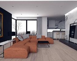 Dom jednorodzinny / Kraków - Duży szary biały czarny salon z kuchnią z jadalnią, styl nowoczesny - zdjęcie od A2 STUDIO pracownia architektury