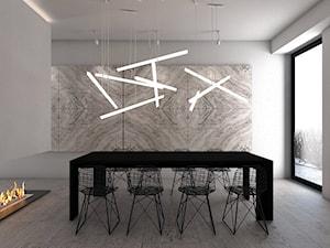 Dom jednorodzinny X / Tarnowskie Góry. - Średnia otwarta biała jadalnia w salonie, styl minimalistyczny - zdjęcie od A2 STUDIO pracownia architektury