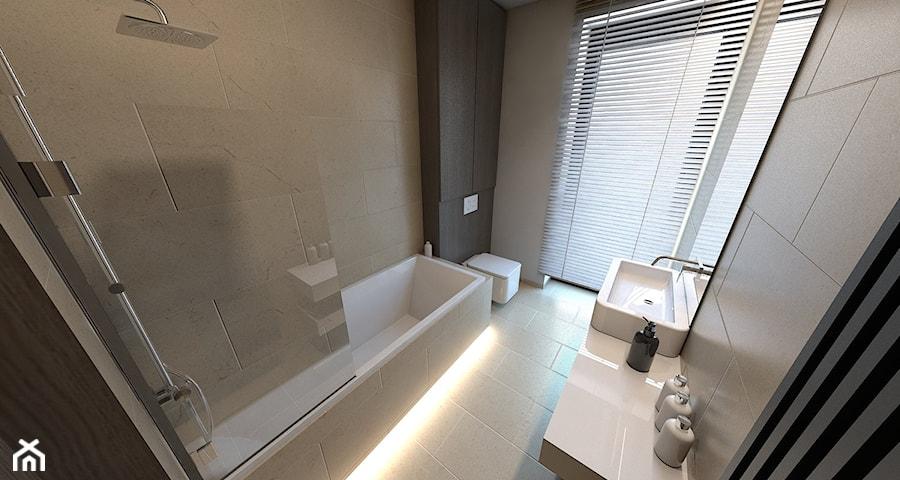Dom jednorodzinny Zbrosławice - Mała łazienka w bloku w domu jednorodzinnym z oknem, styl nowoczesny - zdjęcie od A2 STUDIO pracownia architektury