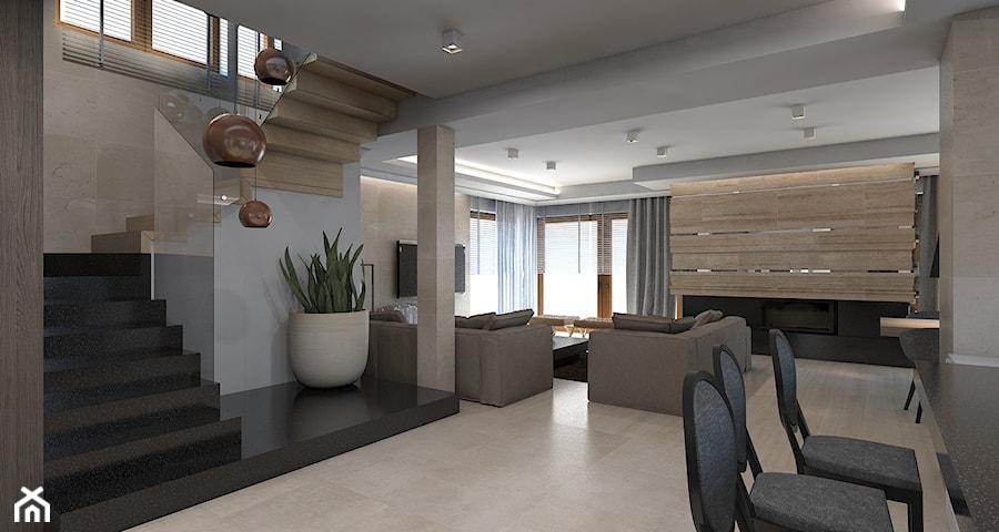 Dom jednorodzinny /Śląsk - Średnie wąskie schody trójbiegowe drewniane kamienne, styl klasyczny - zdjęcie od A2 STUDIO pracownia architektury
