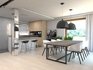 Dom w Przeszowicach - Duża otwarta szara jadalnia w salonie, styl nowoczesny - zdjęcie od A2 STUDIO pracownia architektury