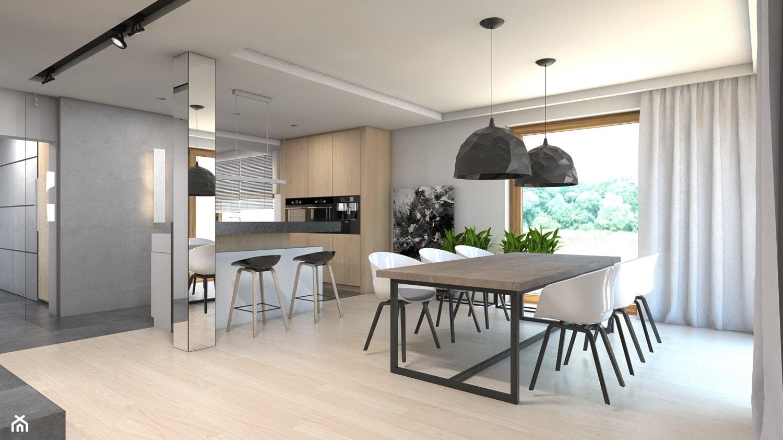 Dom w Przeszowicach - Duża otwarta szara jadalnia w salonie, styl nowoczesny - zdjęcie od A2 STUDIO pracownia architektury - Homebook