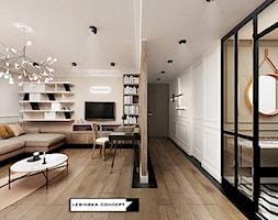TRANSATLANTYK - Duży beżowy salon, styl art deco - zdjęcie od LESINSKA CONCEPT