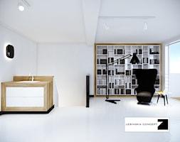 BIAŁY MODERNIZM GDYŃSKI - Duże białe biuro domowe w pokoju, styl minimalistyczny - zdjęcie od LESINSKA CONCEPT