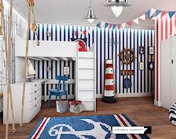 KAMIENICA NA KAMIENNEJ GÓRZE W GDYNI - Średni biały niebieski czerwony pokój dziecka dla chłopca dla ucznia dla malucha, styl nowoczesny - zdjęcie od LESINSKA CONCEPT