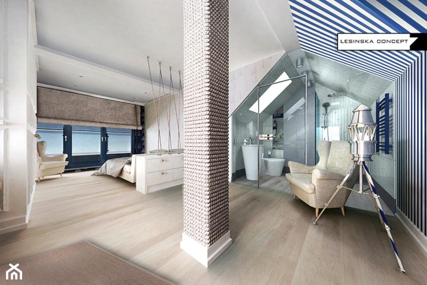 NADMORSKI APARTAMENT - Duża łazienka na poddaszu w domu jednorodzinnym jako salon kąpielowy z oknem, styl eklektyczny - zdjęcie od LESINSKA CONCEPT