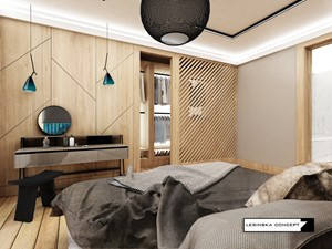 DOM W DYLEWIE - Średnia szara sypialnia małżeńska z garderobą z łazienką, styl skandynawski - zdjęcie od LESINSKA CONCEPT