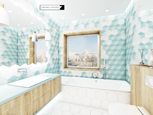 DOM JEDNORODZINY - Średnia biała turkusowa łazienka na poddaszu w bloku w domu jednorodzinnym z oknem, styl nowoczesny - zdjęcie od LESINSKA CONCEPT