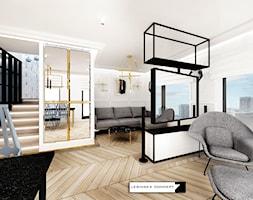 APARTAMENT GDYNIA ART DECO - Mały szary salon z jadalnią, styl nowoczesny - zdjęcie od LESINSKA CONCEPT