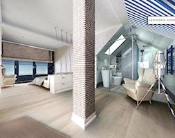 NAD MORZEM - Duża biała sypialnia dla gości małżeńska na poddaszu z łazienką z balkonem / tarasem, styl eklektyczny - zdjęcie od LESINSKA CONCEPT